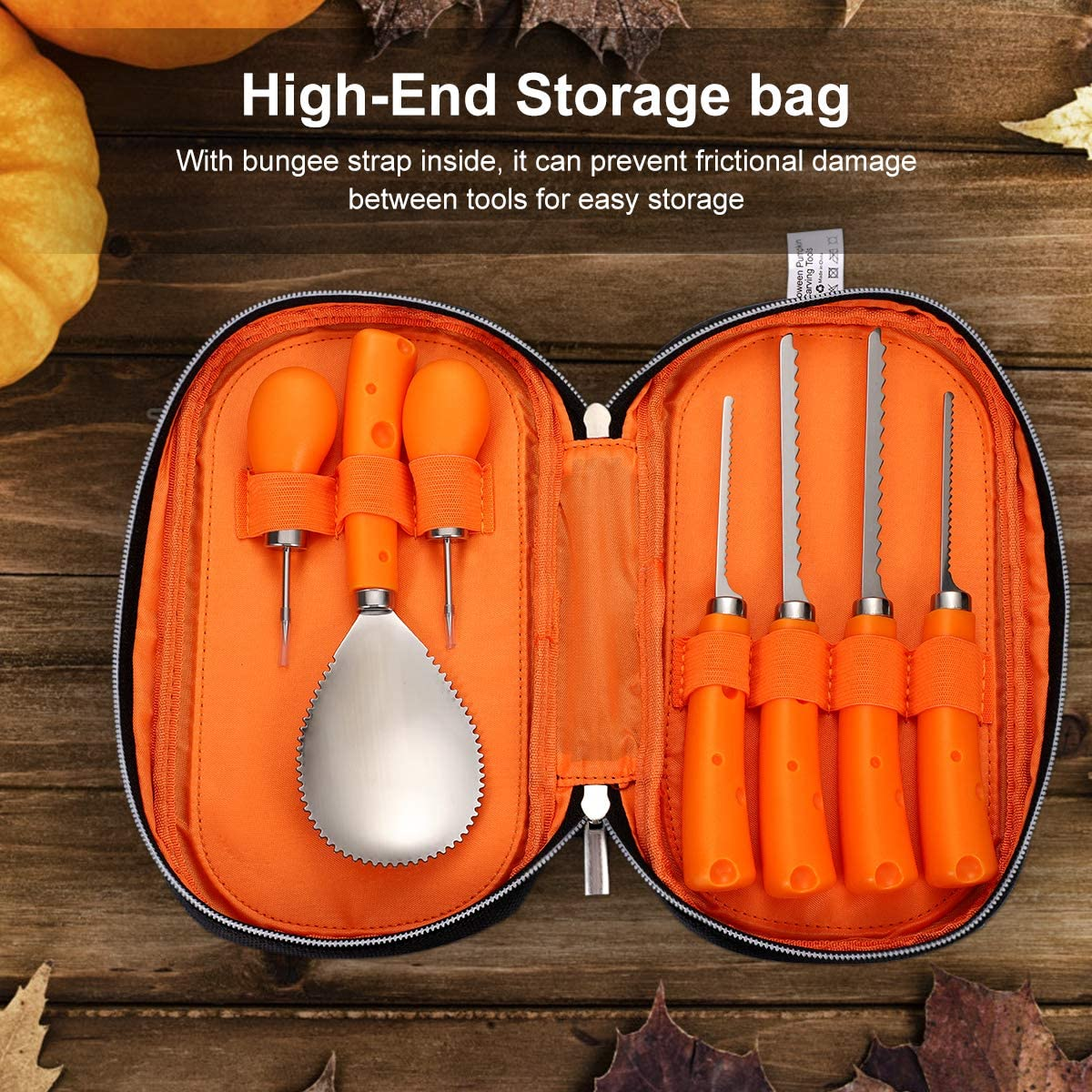 Halloween Pumpkin Carving Tools Kit, 7Pcs Jack-O-Lanterns Stainless Steel Professional Pumpkin Cutting Tools