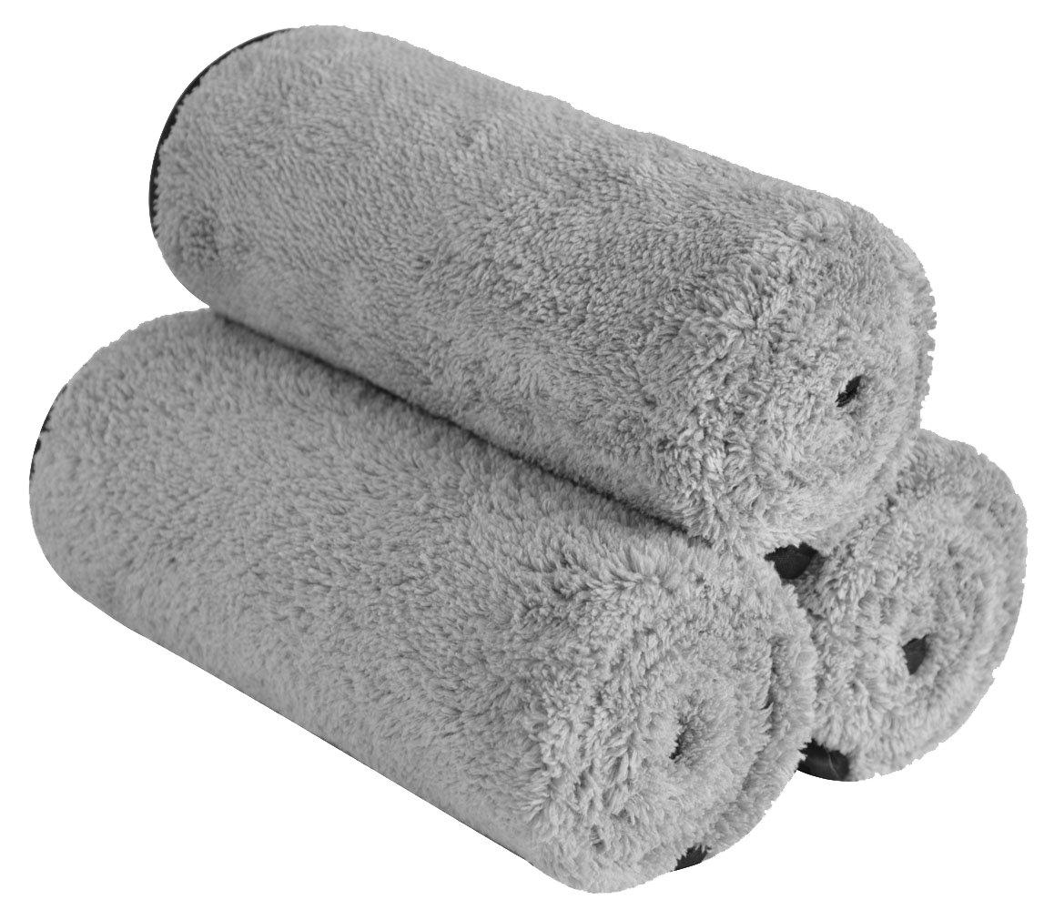 16x24, Purplex3 16 Inch X 24 Inch 380gsm Sinland Microfiber Car Cleaning Cloths Plush Thick Car Waxing Polishing Towels Car Wash Cloths 3 Pack