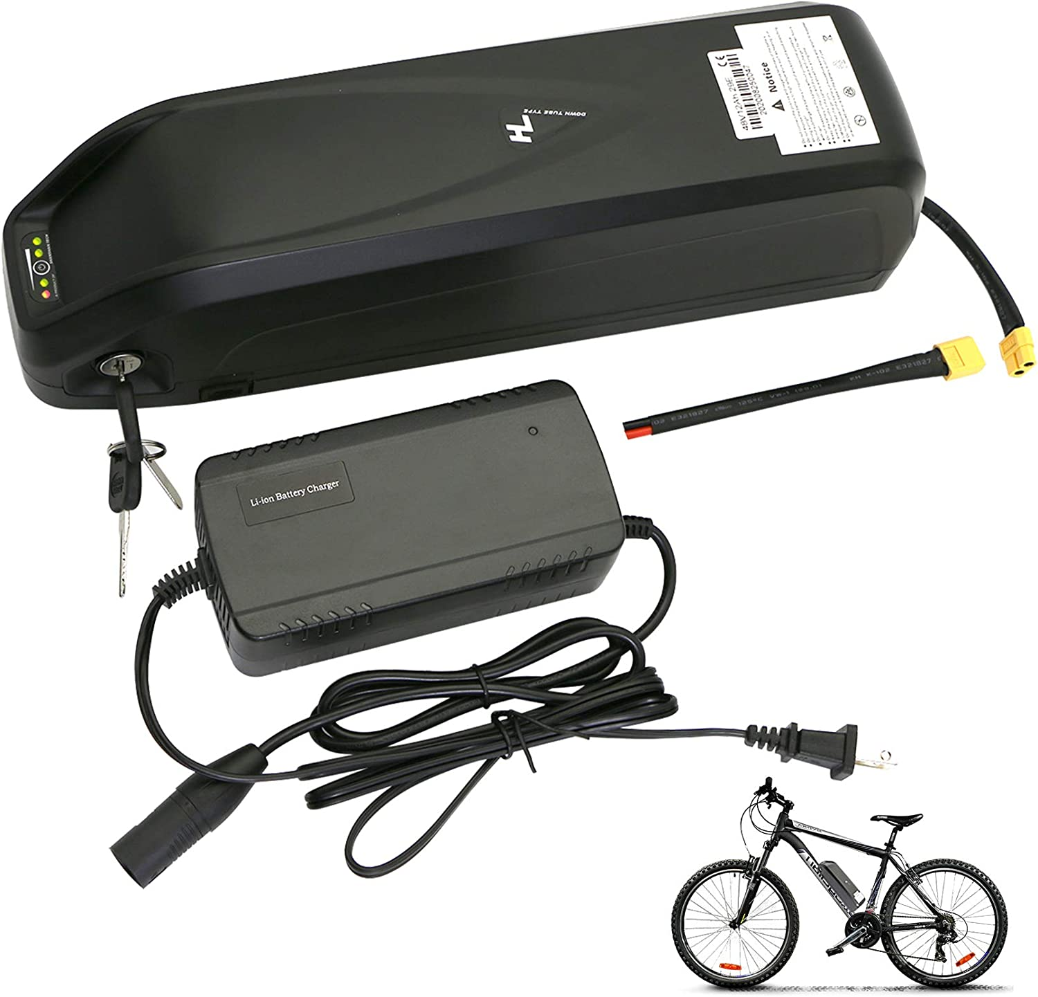 VOKUA Ebike Battery 36V 17.4Ah 48V 12Ah//14.5 Ah//17.5Ah 18650 Cell Hailong Li-ion Battery with BMS Powerful with Charger for BAFANG BBS01B BBS02B BBSHD Tongsheng Electric Bicycle Conversion Kit