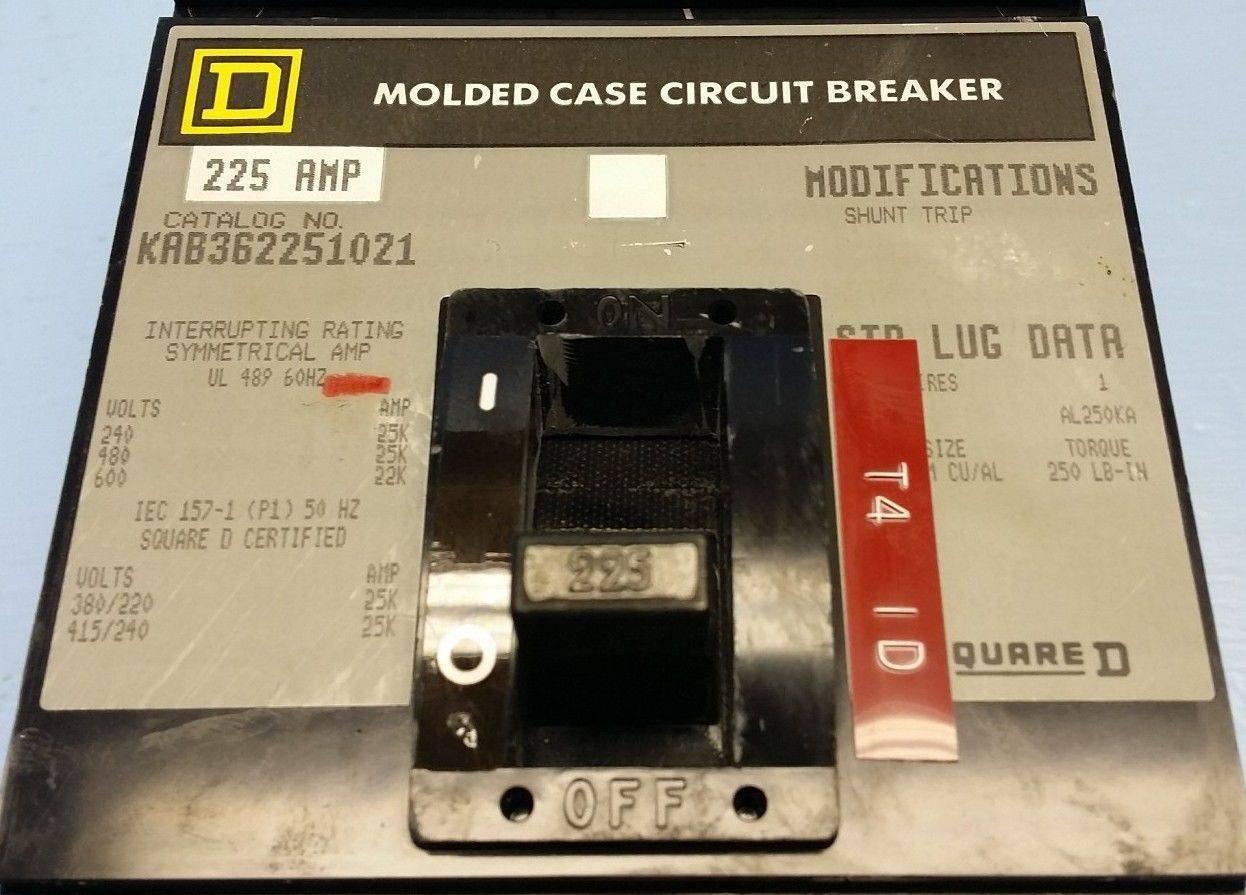 225 Amp Square D Circuit Breaker Shunt Trip