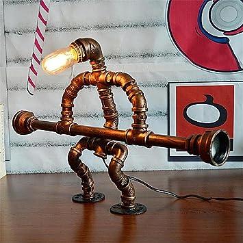 Lámparas de escritorio Robot elevador de peso Industrial de la cosecha Hierro forjado Tubos de agua ...