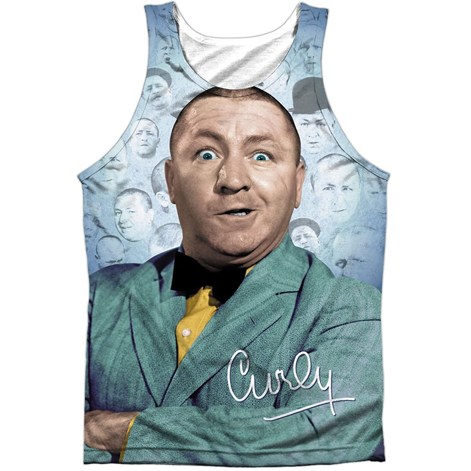 Three Stooges Slapstick Comedic Group Curly in Color Front Print Tank Top Shirt