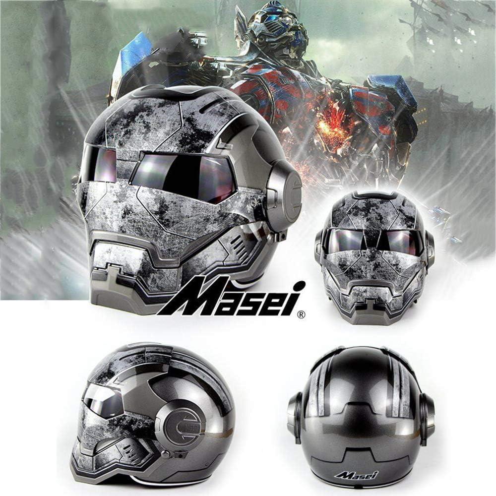 55Cm~56Cm Iron Man Rockstar Grigio Brillante ,M Wansheng Casco Integrale per Casco per Motociclisti Adulti//Casco Anteriore Aperto Flip//Omologato D.O.T M, L, XL, XXL