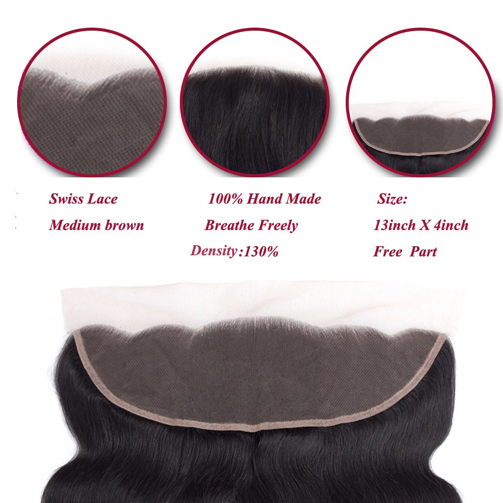 Amella Hair 10A Brazilian Body Wave Frontal(16 18 20+14 Frontal) Bundles with Frontal Ear to Ear Lace Frontal Closure with Bundles Brazilian Body Wave Frontal with Baby Hair Natural Black Color by Amella hair (Image #3)