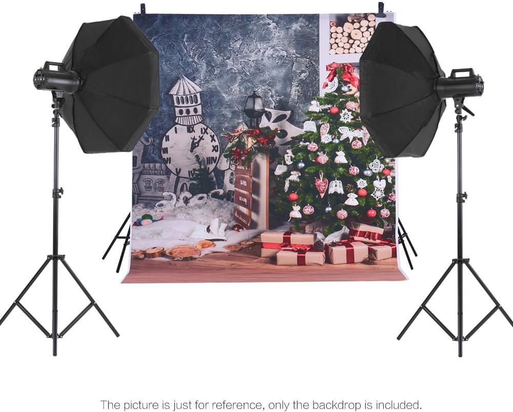 Andoer Navidad Telón de Fondo de Fotografía Impresión Digital Árbol de Navidad Regalo Patrón de la Impresión para Foto Estudio (1.5 * 2m) (4)