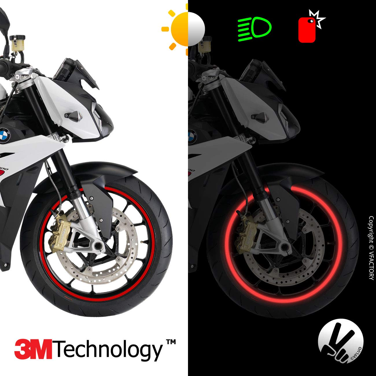 3M Technology/™ VFLUO CIRCULAR/™ 7 mm width Black motorcycle retro reflective wheel stripes kit 1 wheel