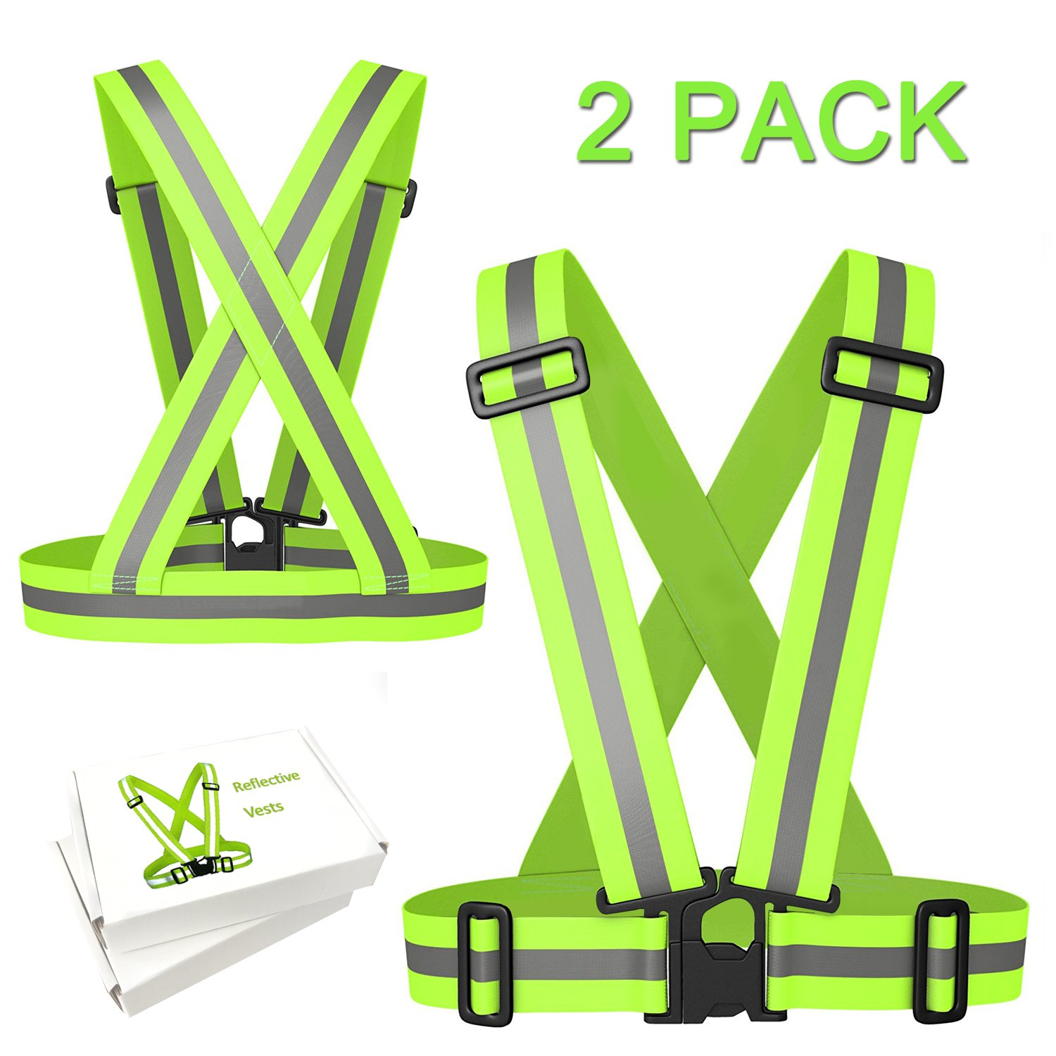 ANGESHEN Reflective Vest (2 Pack) Lightweight, Adjustable & Elastic Safety & High Visibility for Running, Jogging, Walking, Cycling | Fits Over Outdoor Clothing - Motorcycle Jacket//Shirt