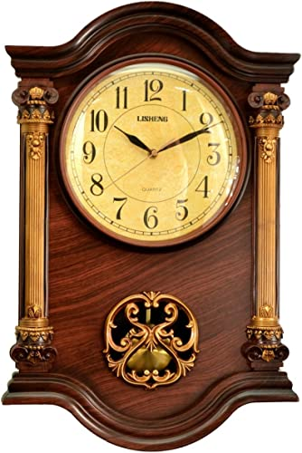 Le raze 22 x 15 x 3-Inch Grandfather Wall Clock with Swinging Pendulum, Mahogany Gold