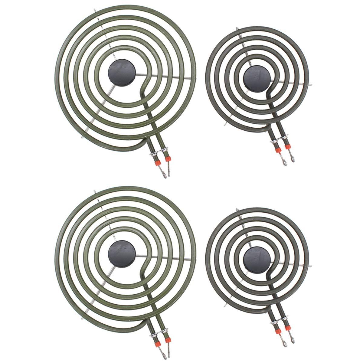 ApplianPar MP22YA Set 2Pcs MP21YA 8 Inch and 2Pcs MP15YA 6 Inch Electric Range Surface Burner Element Coil Unit Kit for Whirlpool KitchenAid Oven Roper