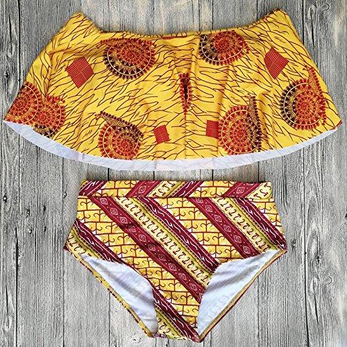 zooarts® 2017Off el hombro acolchada, estampado africano volantes de alta cintura Bikini Set de baño traje de baño traje de playa, poliéster, multicolor, mediano