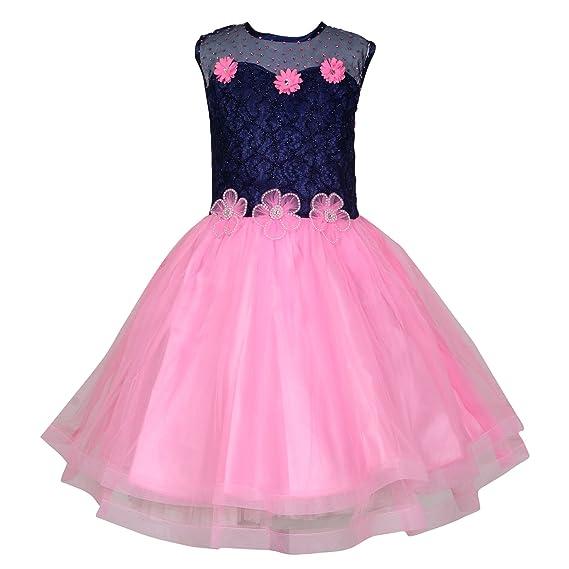 2d98db093c35 KBKIDSWEAR Girl s Net Floral Print Party Wear Frock (5-6 Years ...
