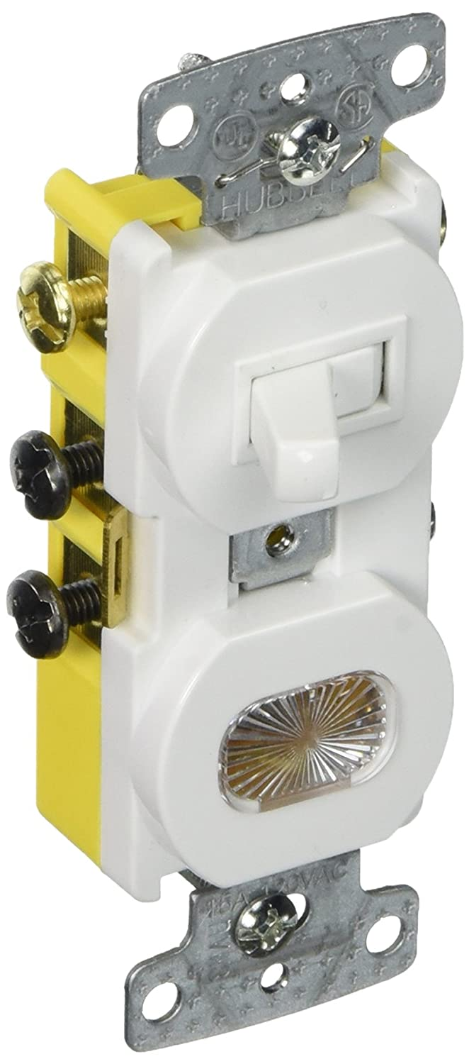 Hubbell wiring systems rc309w tradeselect three way combination hubbell wiring systems rc309w tradeselect three way combination toggle switch with pilot light clear lens amber neon bulb 15a 120v ac white wall light asfbconference2016 Gallery