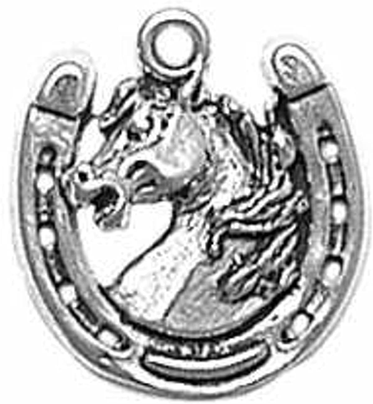 Sterling Silver Girls .8mm Mad Stallion Horse Head Horseshoe Pendant Necklace