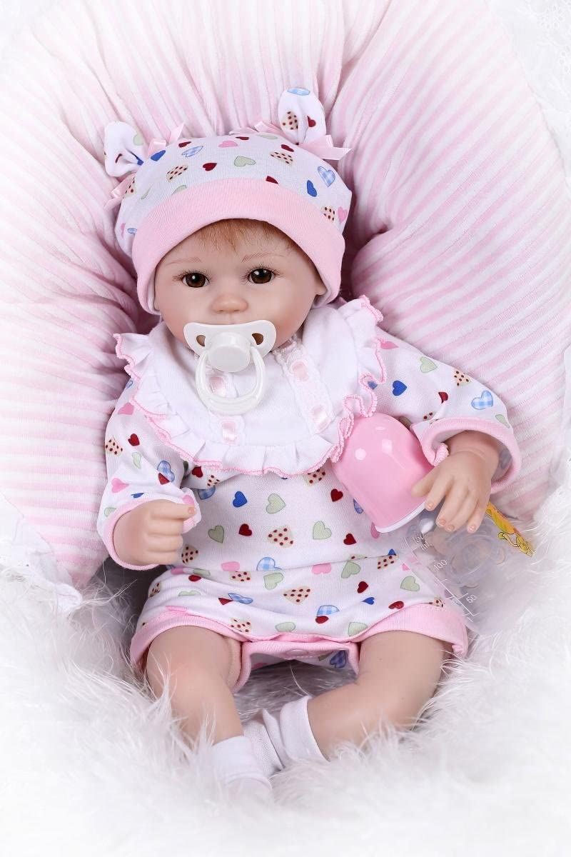 Nicery Reborn Baby Doll Soft Silicone Girl Toy 22in 55cm Lifelike Gift C286