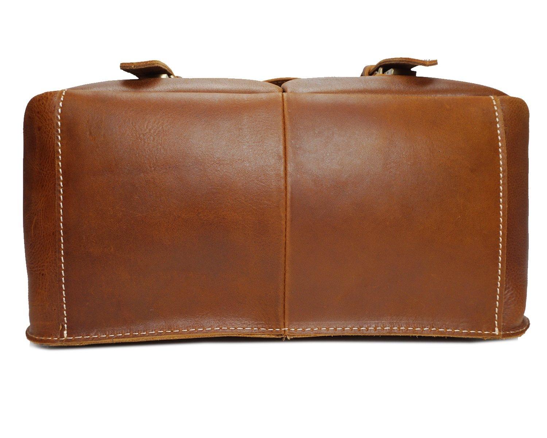 Rouroumaoyi Mens Messenger Bag Leather Camera Bag Multifunctional Shoulder Bag Oily Leather Messenger Bag Leather Color : Brown, Size : S