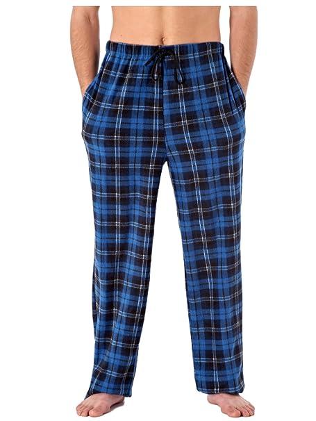 Mens Classic Checked Polar Fleece Pyjama Trouser Sleepwear Nightwear Loungewear (Blue) S