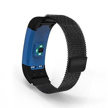 Pinhen Bracelet en acier inoxydable pour montre connectée Garmin Vivosmart HR/HR Plus