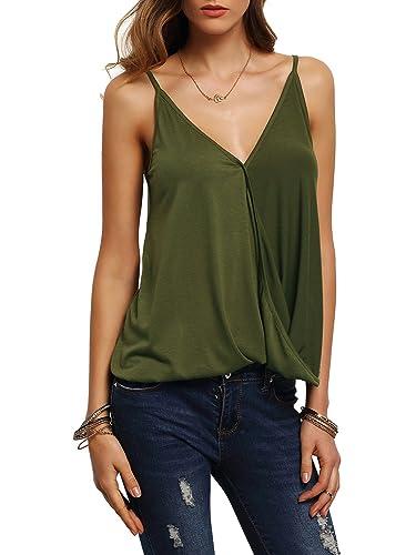 ROMWE Women's V Neck Strappy Loose T-shirt Tank Top Vest Blouses