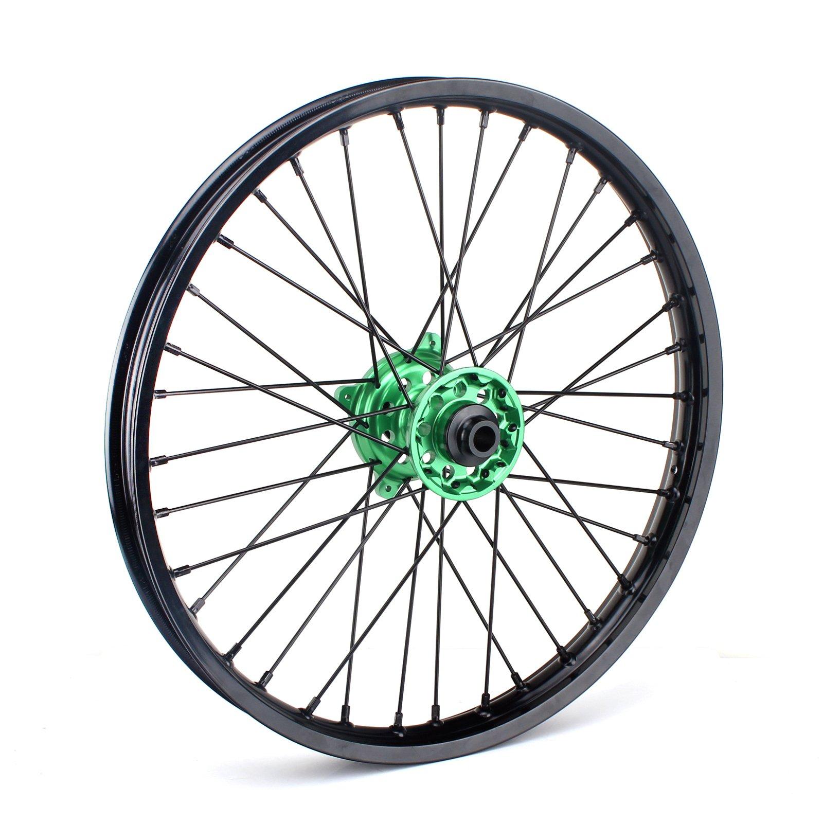 TARAZON 21 x 1.60 MX Front Wheel Kit 36 Spokes Rim Green Hub for Kawasaki KX125 KX250 2006-2013 KX250F KX450F 2006-2017