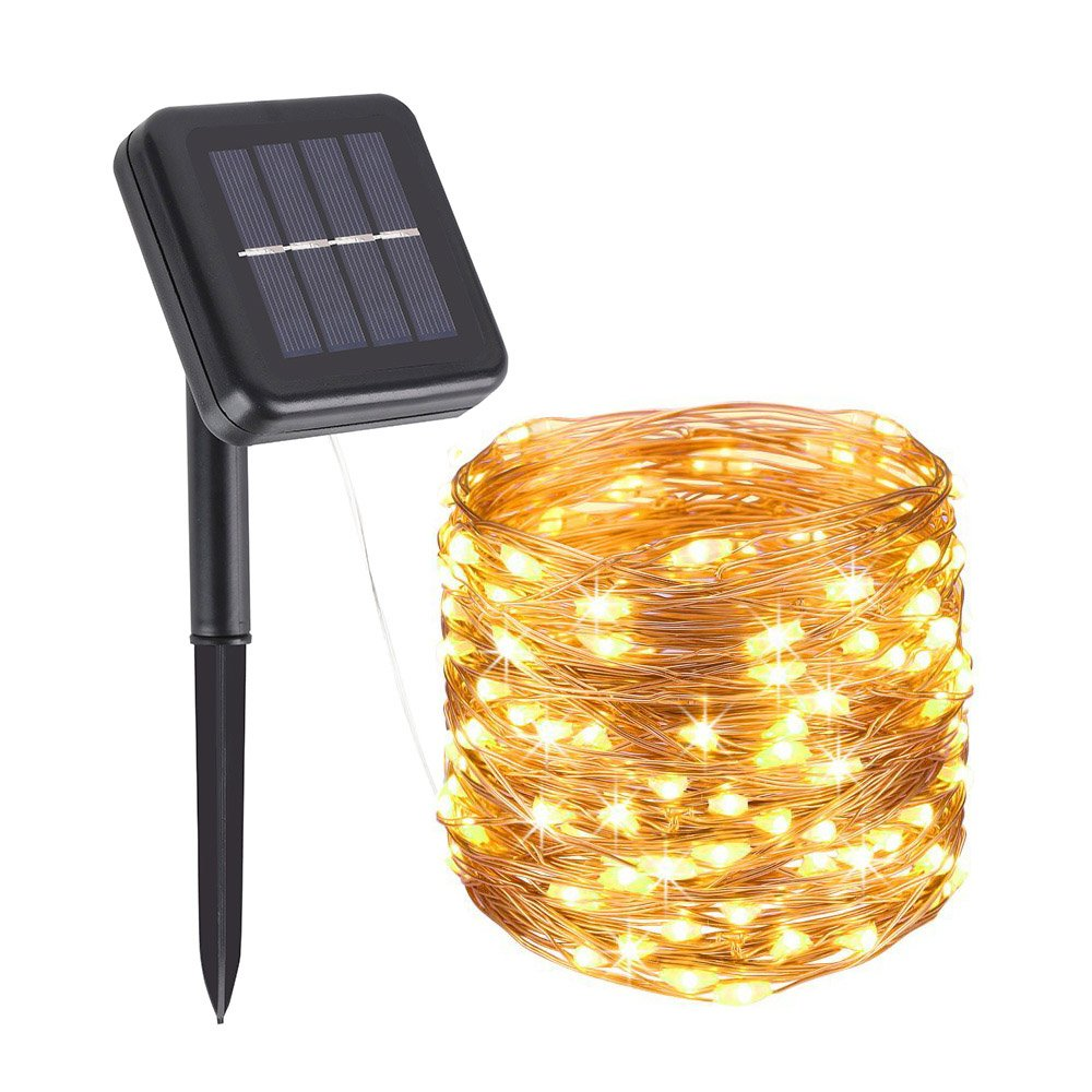 woohaha Solar String Lights, 100 LED Copper Wire Lights, Waterproof Fairy Decoration Starry String Lights - 8 Modes, Indoor/Outdoor for Gardens, Patios, Homes, Parties, Warm White 2 Pack