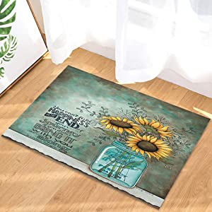 Flower Indoor Doormat Front Door Mat Non Slip Rubber Backing, Absorbent Inside Dirts Trapper Mats Entrance Rug 20x31.5inch Ball Mason Jars Sunflowers