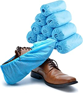Janker Disposable Shoe Covers & Booties for Shoes Covers - 100 pack(50pairs) Durable Shoe Covers for Indoors Disposable, Heavy Duty Non Slip & Dustproof Cover Shoes for Indoors & Workplace(Color Blue)