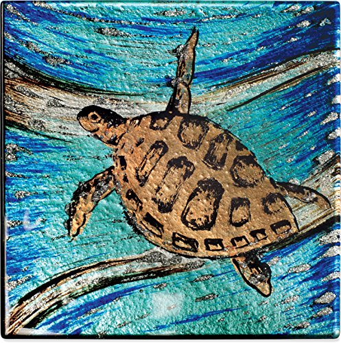 Angelstar 19524 Sea Turtle Glass Coaster, Set of 4, 4