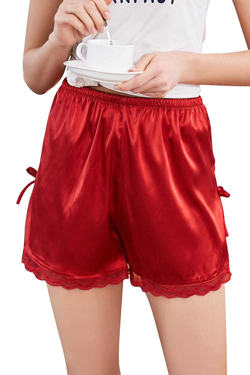 Dolamen Women's Pyjamas Bottoms Shorts Satin, 2 Pack 2018 Silky Satin Nightwear Underwear Lace Boxer Casual Trunks Trousers Pants with Elastic Waistband, for Sleeping & Leisure Time