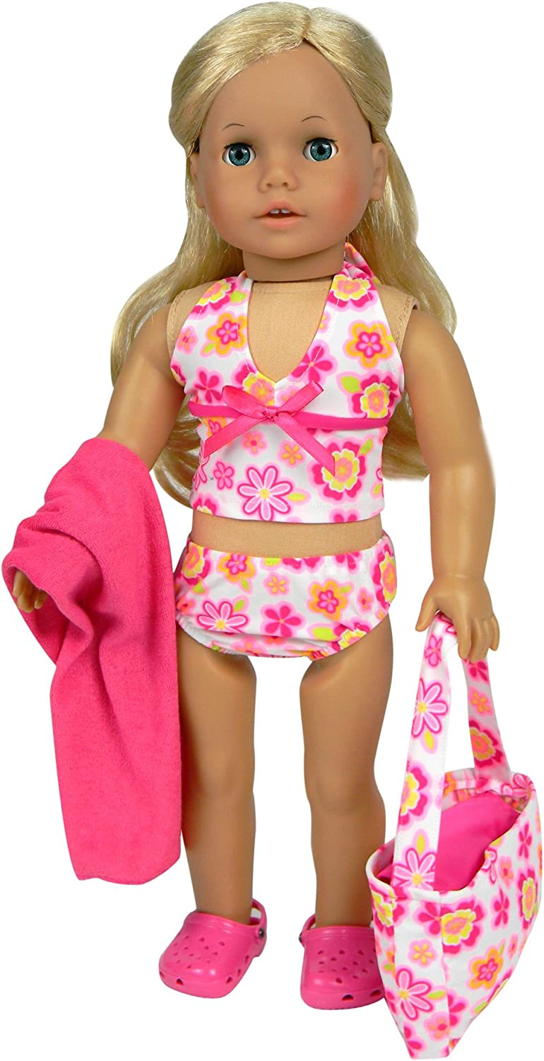 A Fun Two Piece Swim Suit in Yellow and Peace Signs Designed for 18 Inch Doll