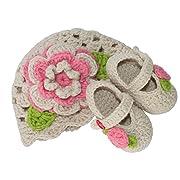 BePe Baby Infant Crochet Bootie Socks and Hat Set - Light Beige/Pink Flower - Size 0-3 Months