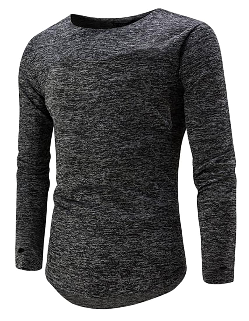 GRMO-Men Casual Round Neck Long Sleeve T-Shirt Blouse Top