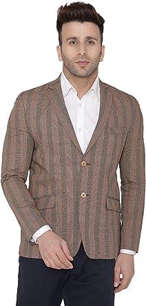 WINTAGE Mens Cotton Checkered All Season Notch Lapel Blazer Brown