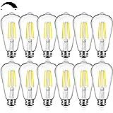 12Packs Vintage LED Edison Bulbs, 60W Equivalent 7W, 800Lumens, Dimmable ST64 Antique LED Filament, Daylight White 5000K, E26