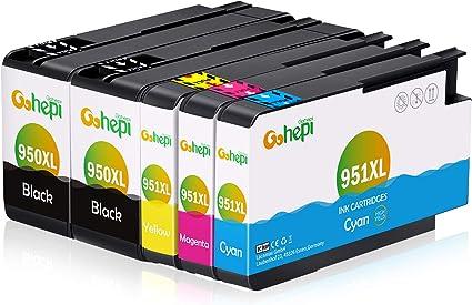 Gohepi Cartuchos de tinta compatibles con HP Officejet Pro 8620 8610 8600 Plus 276dw 8100 8615 251dw 8625 8660 8640 8630 (HP 950 951) X-Grande 2 Negro, 1 Azul, 1 Rojo, 1 Amarillo: Amazon.es: Oficina y papelería