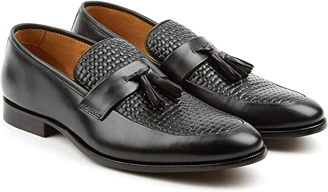 black woven loafers