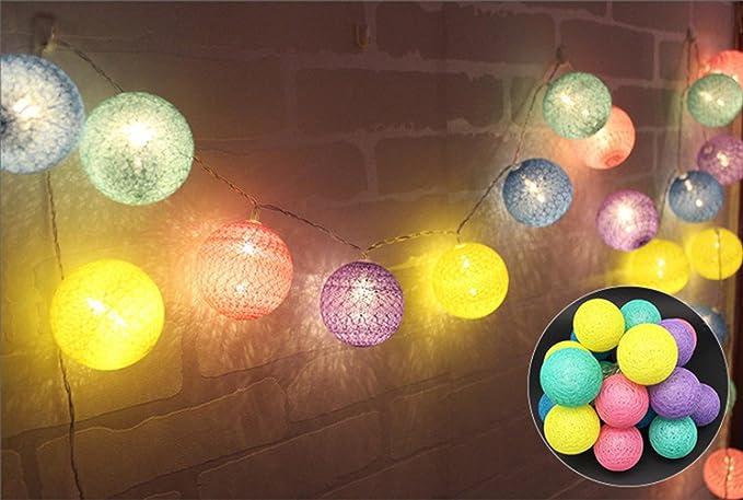 Ghope led textillichterkette con palline in cotone luce