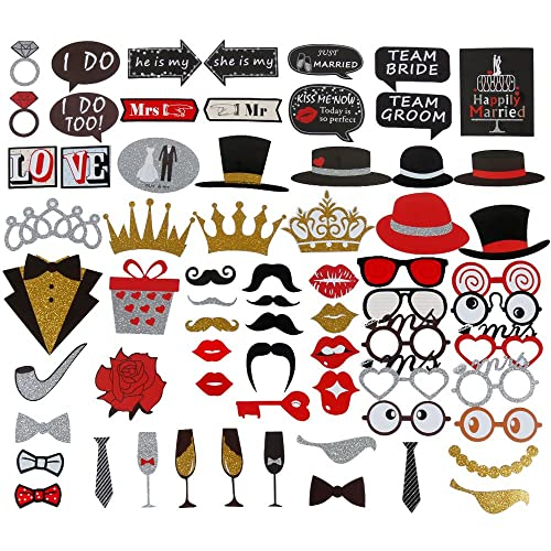 Lictin 67 pcs Wedding Photo Booth Props Wedding Photo Booth Accessories Funny DIY Favor Props, Photo Props DIY Kit for Wedding Party Supplies ,Valentines Day ,Wedding Party Decoration Accessories