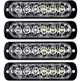 4pcs Surface Mount Amber/White 18W 6-LED Warning Emergency Flashing Strobe Light Bar 12V-24V
