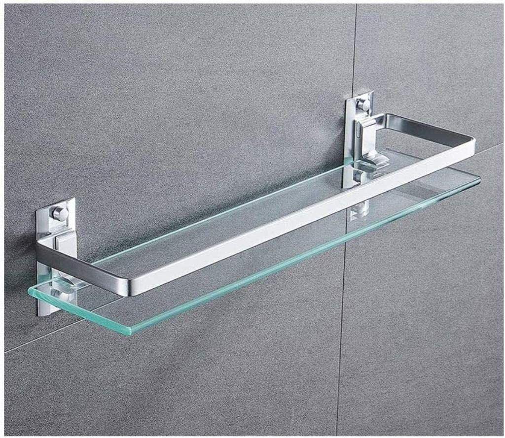 ZfgG Templado Estante de Vidrio Plataforma de ba/ño con Vidrio Grueso de Montaje en Pared Rectangular Final Pulido Soporte Size : 40CM