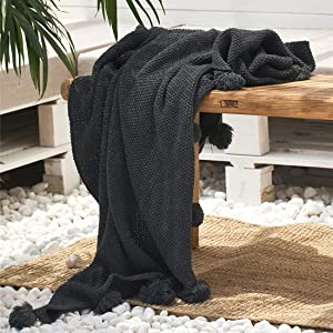 """vctops Cable Knit Throw Blanket with Pompoms Warm Cozy Lightweight Farmhouse Decorative Blanket Couch Cover (Dark Grey,51""""x63"""")"""