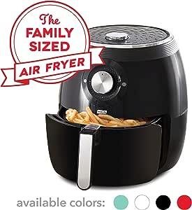 Dash DFAF455GBBK01 Deluxe Electric Air Fryer plus Oven Cooker with Temperature Control, Non Stick Fry Basket, Recipe Guide plus Auto Shut off Feature, 6 qt, Black