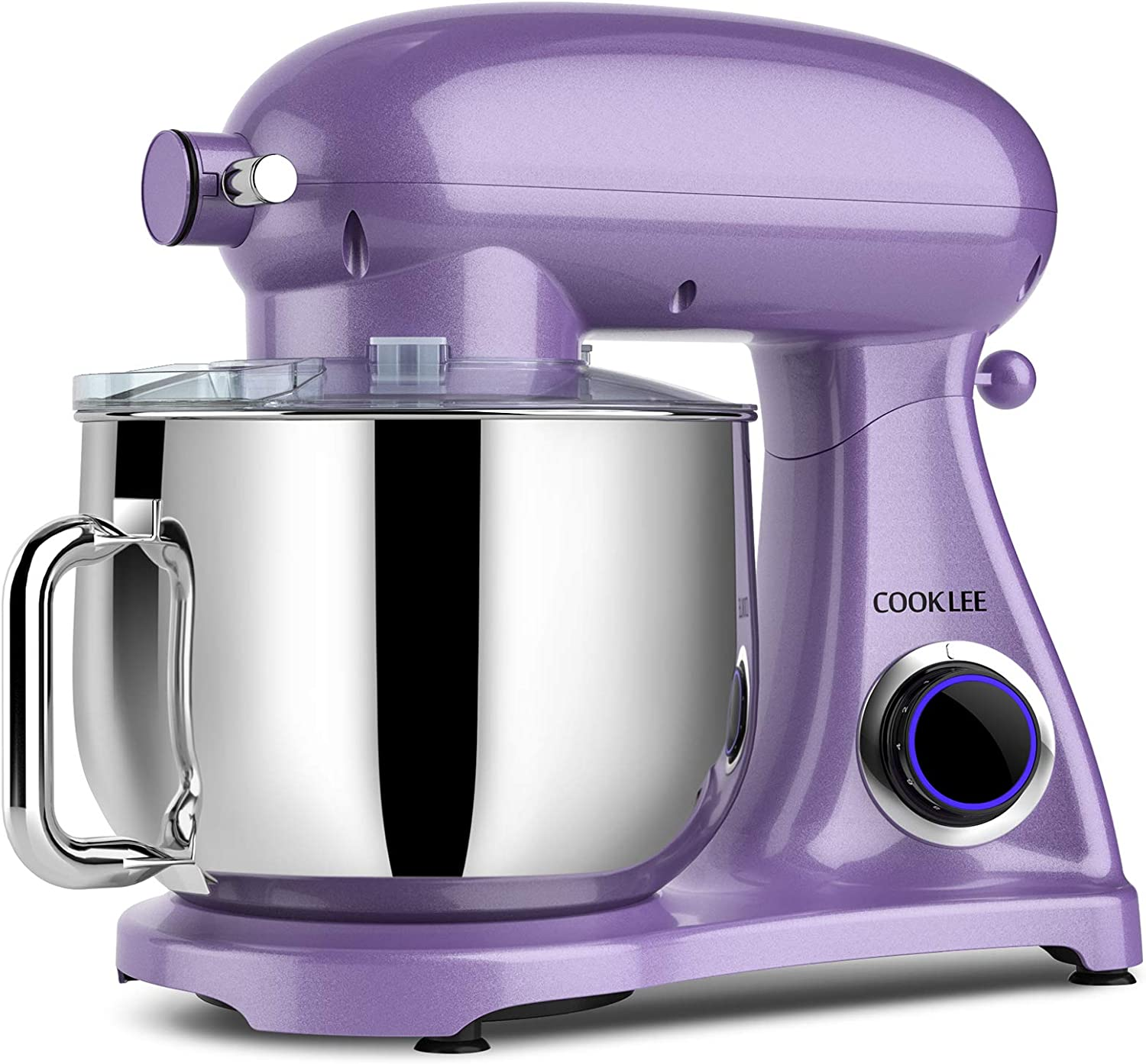 COOKLEE Stand Mixer, 800W 8.5-Qt. Kitchen Mixer with Dishwasher-Safe Dough Hooks, Flat Beaters, Whisk & Pouring Shield, SM-1522NM, Lavender