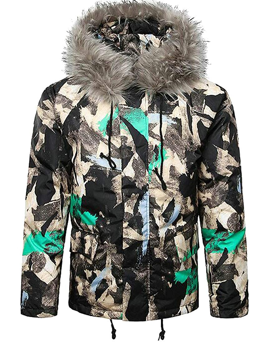 858f624d752 OTW Mens Camouflage Thermal Plus Size Faux Fur Hoodie Loose Fit Down Quilted  Puffer Jacket Coat Outerwear at Amazon Men s Clothing store