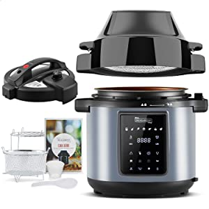 MICHELANGELO Air Fryer Pressure Cooker Combo 6QT, All-in-1 Pressure Cooker with Air Fryer - Two Detachable Lids for Pressure Cooker, Pressure Fryer, Air Fryer, Rice,Slow Cooker,Steamer & Warmer 6Qt