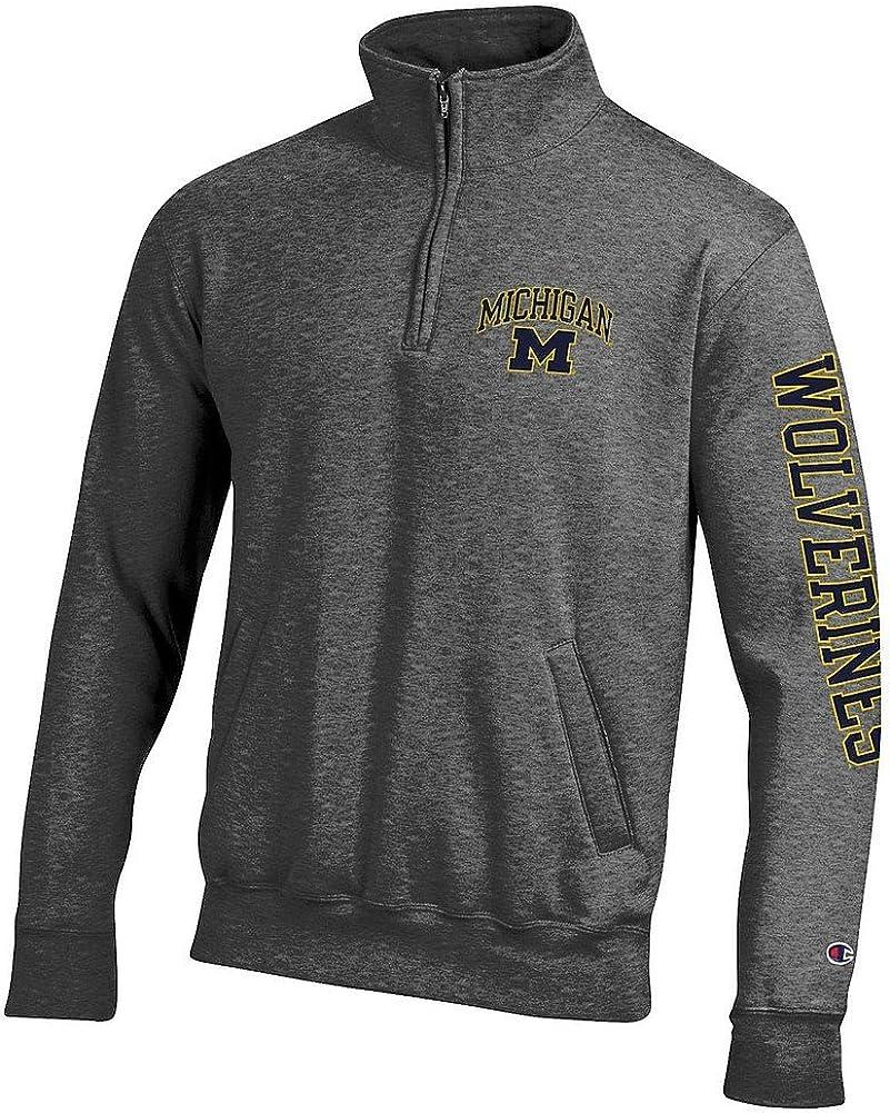 Elite Fan Shop NCAA Mens Quarter Zip Sweatshirt Arm Charcoal