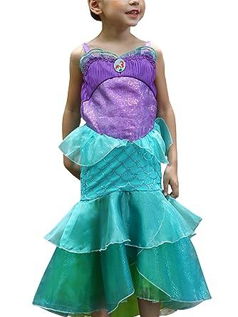 DJSJ- Vestido Disfraz de Sirena Traje para Niña, Disfraz Infantil ...