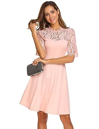 Damen Vintage Retro Spitzen Kleid Rundhals Halbarm Swing Abendkleid