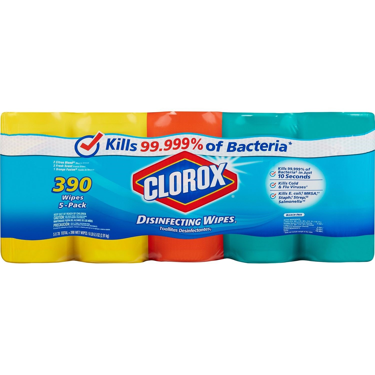Clorox Disinfecting Wipes Value Pack, Citrus blend; Fresh Scent; Orange Fusion, 390 Wipes by Clorox