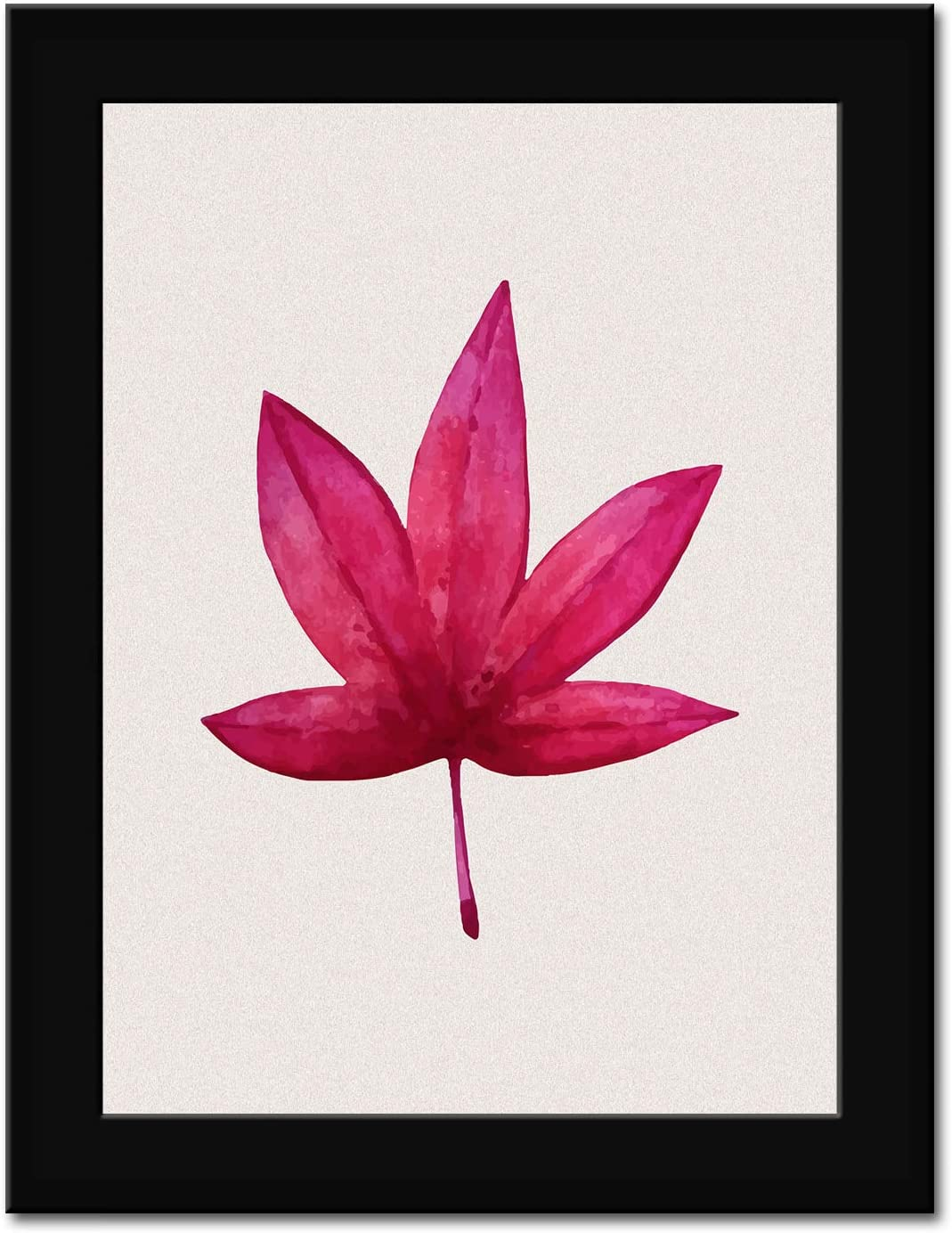Leaf - Red Maple Leave plant - FRAMED - Canvas Print Home Decor Desk Stand and Wall Art, Black Real Wood Frame, Pink, 7x9