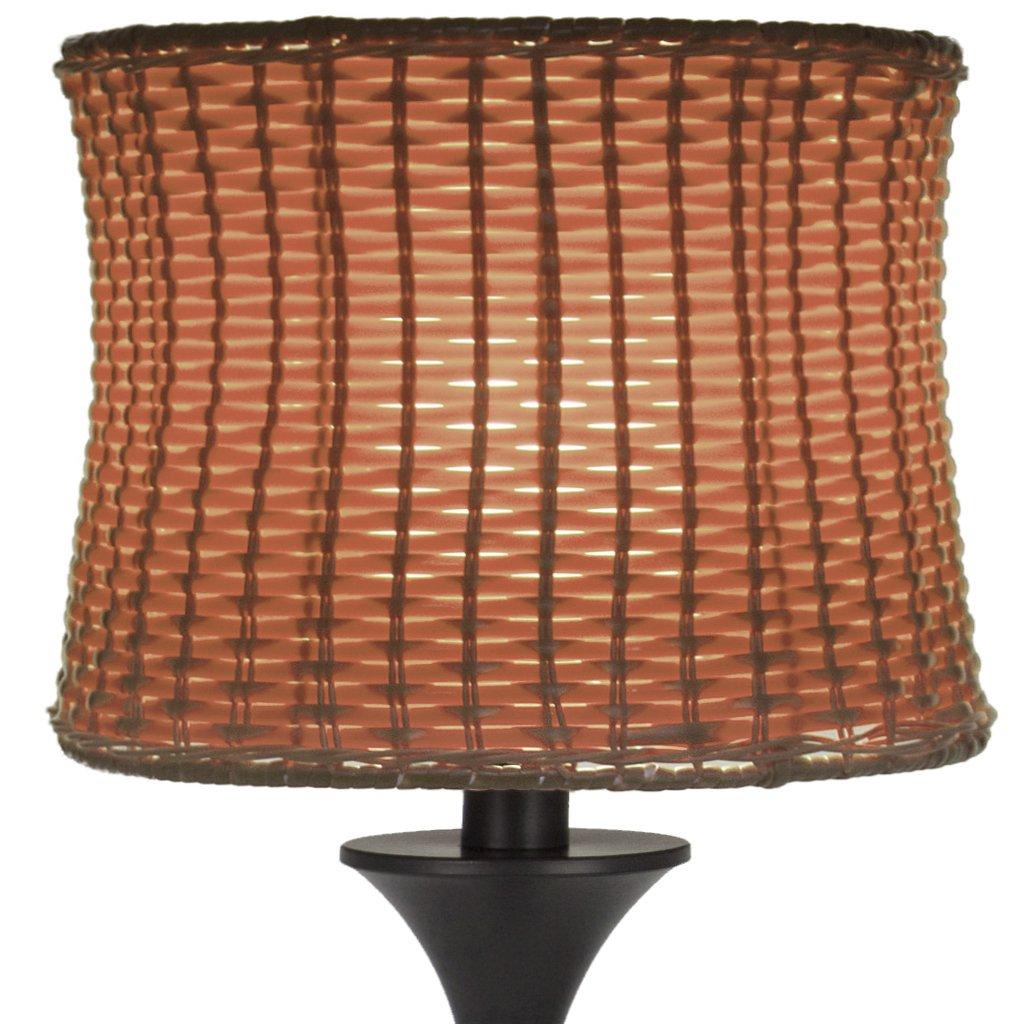 "25.25""H Outdoor / Indoor Basketweave Table Lamp-Brown"